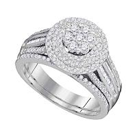10kt White Gold Womens Diamond Cluster Bridal Wedding Engagement Ring Band Set 1.00 Cttw