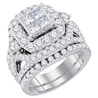 14kt White Gold Womens Princess Diamond Cluster Bridal Wedding Engagement Ring Band Set 3-1/3 Cttw