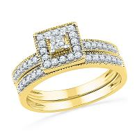 10kt Yellow Gold Womens Princess Diamond Square Halo Bridal Wedding Engagement Ring Band Set 1/2 Cttw