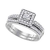 10kt White Gold Womens Princess Diamond Square Halo Bridal Wedding Engagement Ring Band Set 1/2 Cttw