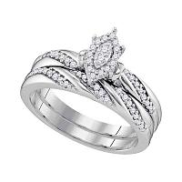 10kt White Gold Womens Diamond Oval Cluster Bridal Wedding Engagement Ring Band Set 1/4 Cttw