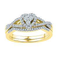 10k Yellow Gold Womens Round Diamond Heart Cluster Bridal Wedding Engagement Ring Set 3/8 Cttw
