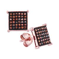 10kt Rose Gold Womens Round Red Color Enhanced Diamond Square Earrings 1/5 Cttw