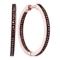 10kt Rose Gold Womens Round Red Color Enhanced Diamond Single Row Hoop Earrings 1/3 Cttw