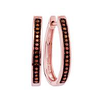 10kt Rose Gold Womens Round Red Color Enhanced Diamond Single Row Hoop Earrings 1/10 Cttw