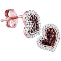 10kt Rose Gold Womens Round Red Color Enhanced Diamond Heart Stud Screwback Earrings 1/6 Cttw
