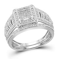 10kt White Gold Womens Diamond Square Cluster Bridal Wedding Engagement Ring Band Set 1/2 Cttw