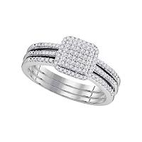 10kt White Gold Womens Diamond Cluster Bridal Wedding Engagement Ring Band 3-Piece Set 1/3 Cttw