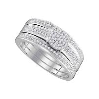 10kt White Gold Womens Diamond Cluster Bridal Wedding Engagement Ring Band Set 1/4 Cttw