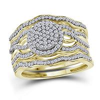 10kt Yellow Gold Womens Round Diamond Cluster 3-Piece Bridal Wedding Engagement Ring Band Set 1/2 Cttw