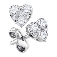 10kt White Gold Womens Round Diamond Cluster Heart Screwback Earrings 1/2 Cttw