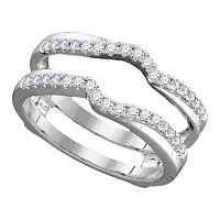 14kt White Gold Womens Round Diamond Ring Guard Wrap Ring Guard Enhancer 1/3 Cttw