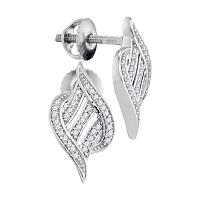 10kt White Gold Womens Round Diamond Striped Cascading Stud Earrings 1/6 Cttw