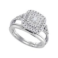 10kt White Gold Womens Round Diamond Square Halo Bridal Wedding Engagement Ring Band Set 1/3 Cttw
