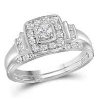 10kt White Gold Womens Round Diamond Solitaire Square Bridal Wedding Engagement Ring Band Set 1/3 Cttw