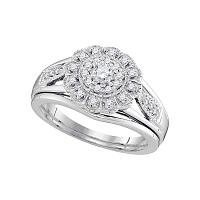 10kt White Gold Womens Round Diamond Floral Halo Bridal Wedding Engagement Ring Band Set 1/3 Cttw
