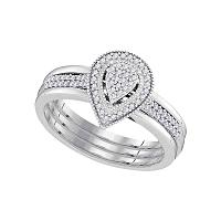 10kt White Gold Womens Diamond Teardrop Cluster Bridal Wedding Engagement Ring Band Set 1/5 Cttw
