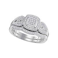10kt White Gold Womens Round Diamond Square Bridal Wedding Engagement Ring Band Set 1/3 Cttw