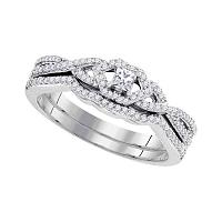 10k White Gold Womens Princess Diamond Bridal Wedding Engagement Ring Band Set Slender 1/3 Cttw