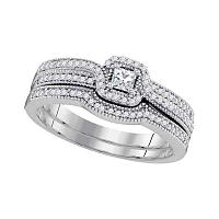 10kt White Gold Womens Diamond Princess Bridal Wedding Engagement Ring Band Set 1/3 Cttw