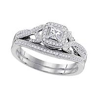 10kt White Gold Womens Diamond Princess Bridal Wedding Engagement Ring Band Set 3/8 Cttw