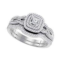 10kt White Gold Womens Princess Diamond Double Halo Bridal Wedding Engagement Ring Band Set 1/10 Cttw