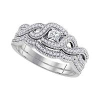 10k White Gold Princess Diamond Woven Crossover Bridal Wedding Engagement Ring Band Set 1/3 Cttw