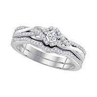 10kt White Gold Womens Princess Diamond Bridal Wedding Engagement Ring Band Set 1/3 Cttw