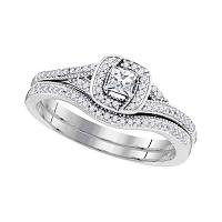 10k White Gold Princess Diamond Bridal Wedding Engagement Ring Band Set 1/3 Cttw