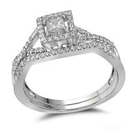 14kt White Gold Womens Princess Diamond Bridal Wedding Engagement Ring Band Set 3/8 Cttw
