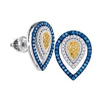 10kt White Gold Womens Round Blue Yellow Color Enhanced Diamond Teardrop Earrings 1/3 Cttw