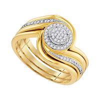 10kt Yellow Gold Womens Diamond Cluster Bridal Wedding Engagement Ring Band Set 1/6 Cttw