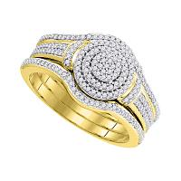 10kt Yellow Gold Womens Round Diamond Cluster 3-Piece Bridal Wedding Engagement Ring Band Set 1/3 Cttw