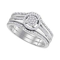 10kt White Gold Womens Round Diamond Cluster 3-Piece Bridal Wedding Engagement Ring Band Set 1/4 Cttw