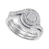 10kt White Gold Womens Diamond Circle Cluter Bridal Wedding Engagement Ring Band Set 1/3 Cttw