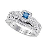 10kt White Gold Womens Round Blue Color Enhanced Diamond Milgrain Bridal Wedding Engagement Ring Band Set 3/8 Cttw
