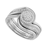 10kt White Gold Womens Round Diamond Bridal Wedding Engagement Ring Band Set 1/6 Cttw