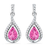 10kt White Gold Womens Lab-Created Pink Sapphire Dangle Earrings 3-1/5 Cttw