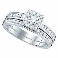 14kt White Gold Womens Round Diamond Square Cluster Bridal Wedding Engagement Ring Band Set 5/8 Cttw