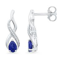 10kt White Gold Womens Pear Lab-Created Blue Sapphire Diamond Stud Earrings 1.00 Cttw
