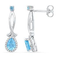 10kt White Gold Womens Pear Lab-Created Blue Topaz Diamond Dangle Earrings 1-1/8 Cttw