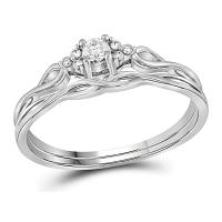14kt White Gold Womens Round Diamond Bridal Wedding Engagement Ring Band Set 1/6 Cttw