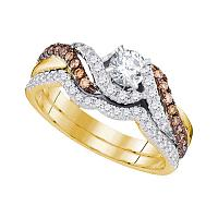 14kt Yellow Gold Womens Round Diamond Bridal Wedding Engagement Ring Band Set 7/8 Cttw