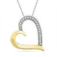 10kt Yellow Gold Womens Round Diamond Heart Outline Pendant 1/10 Cttw