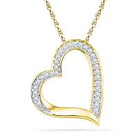 10kt Yellow Gold Womens Round Diamond Heart Outline Pendant 1/8 Cttw