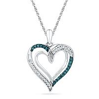 10kt White Gold Womens Round Blue Color Enhanced Diamond Heart Love Pendant 1/6 Cttw