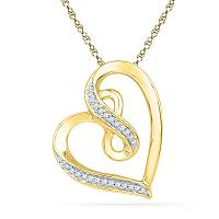 10kt Yellow Gold Womens Round Diamond Heart Infinity Pendant 1/10 Cttw