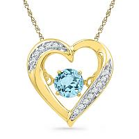 10kt Yellow Gold Womens Round Lab-Created Blue Topaz Moving Twinkle Heart Pendant 3/8 Cttw