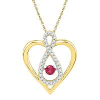 10kt Yellow Gold Womens Round Lab-Created Ruby Diamond Infinity Heart Pendant 1/4 Cttw