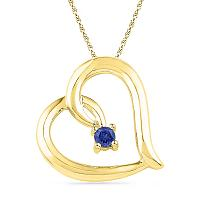 10kt Yellow Gold Womens Round Lab-Created Blue Sapphire Heart Love Pendant 1/8 Cttw